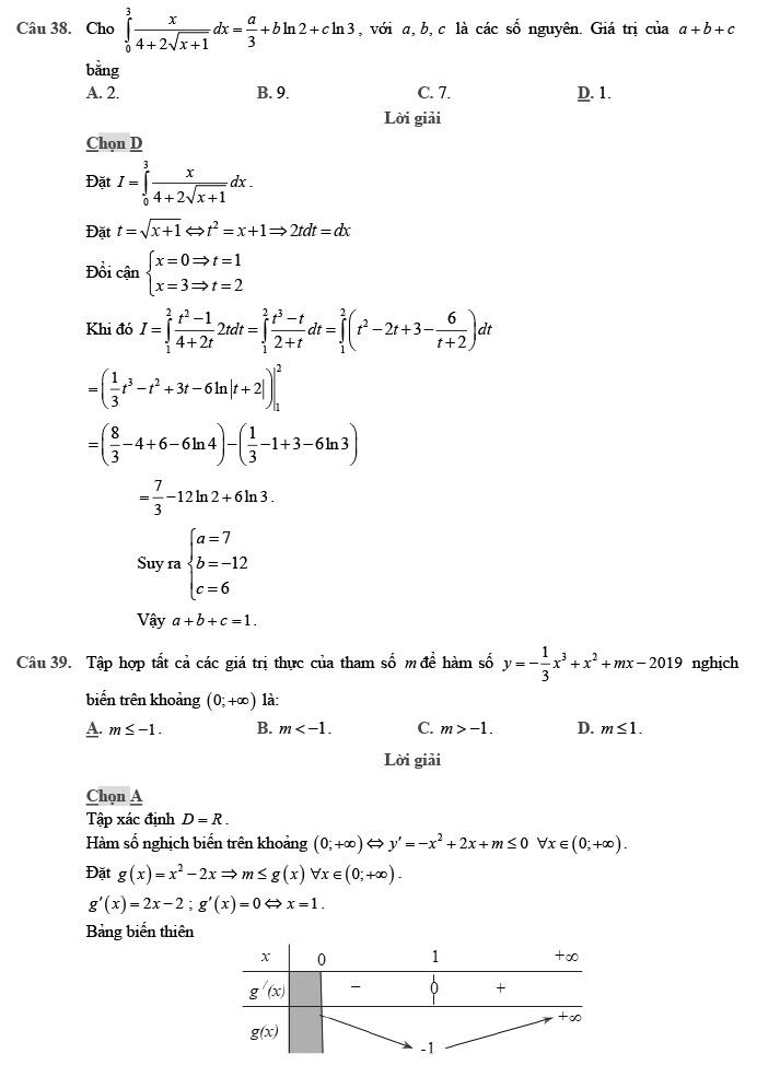 Gỉai đề thi thử môn Toán THPTQG 2020 phát triển theo đề minh họa trang 13