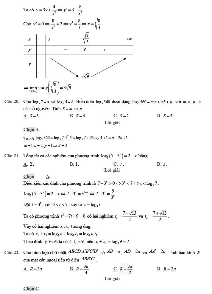 Gỉai đề thi thử môn Toán THPTQG 2020 phát triển theo đề minh họa trang 6