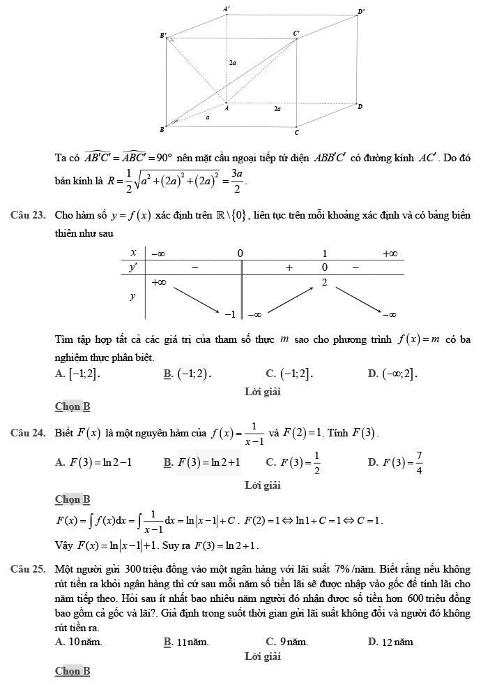 Gỉai đề thi thử môn Toán THPTQG 2020 phát triển theo đề minh họa trang 7