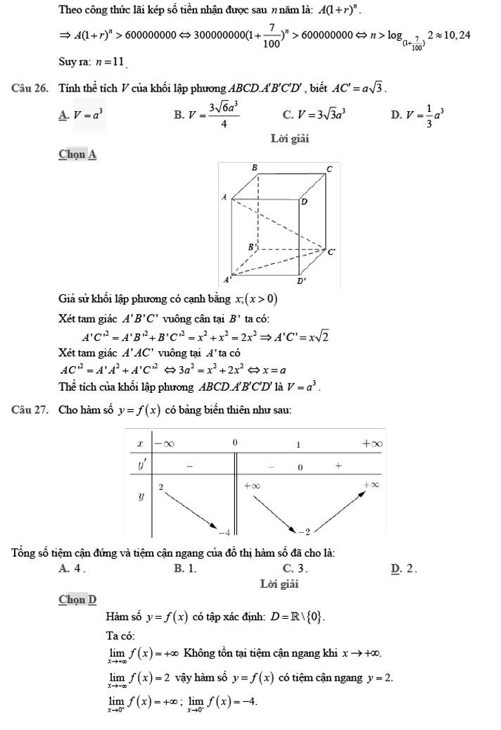 Gỉai đề thi thử môn Toán THPTQG 2020 phát triển theo đề minh họa trang 8