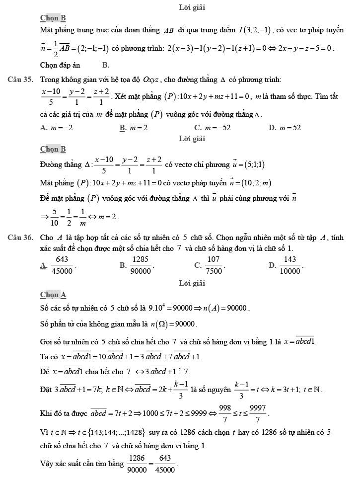 giải chi tiết đề thi thử môn THPT Quốc gia môn Toán 2020 theo đề minh họa trang 10