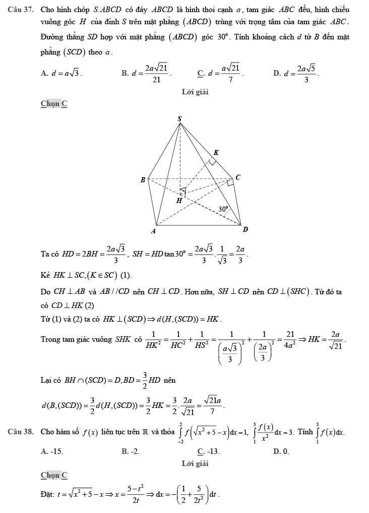 giải chi tiết đề thi thử môn THPT Quốc gia môn Toán 2020 theo đề minh họa trang 11