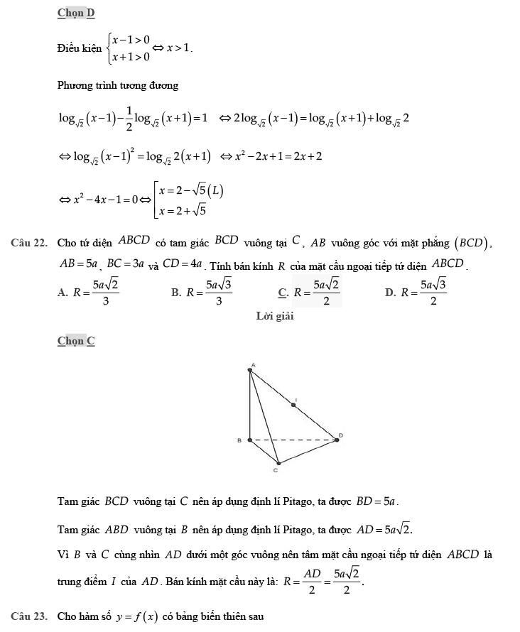 giải đề thi thử môn Toán 2020 phát triển theo đề minh họa số 4 trang 5