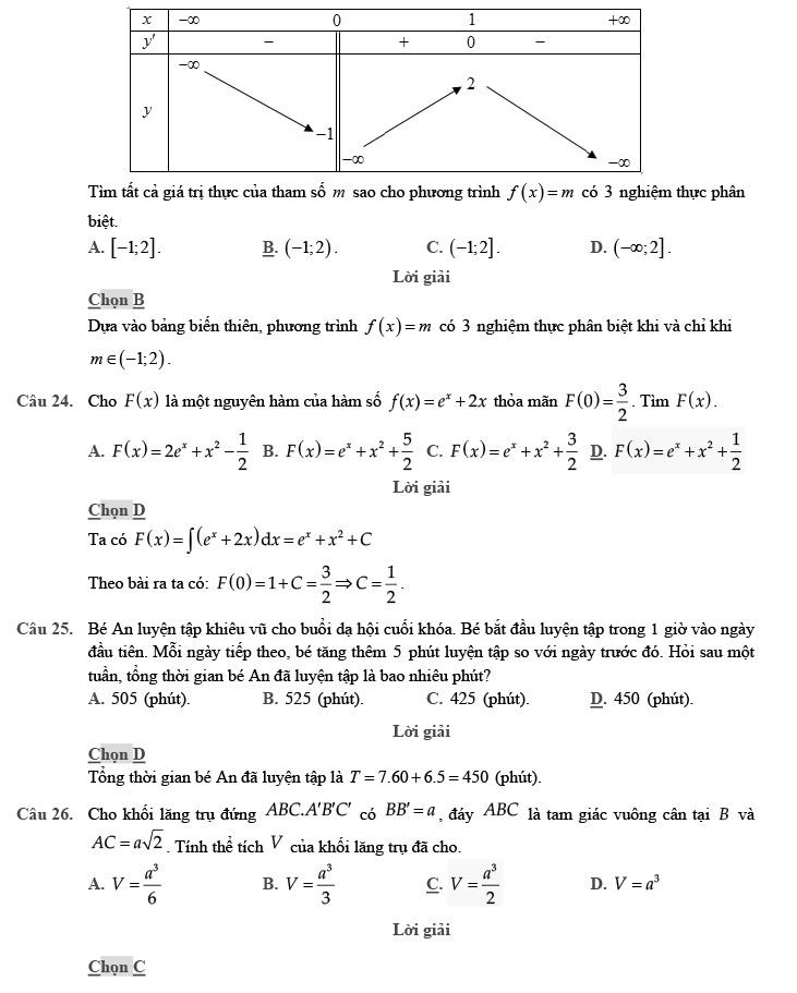 giải đề thi thử môn Toán 2020 phát triển theo đề minh họa số 4 trang 6