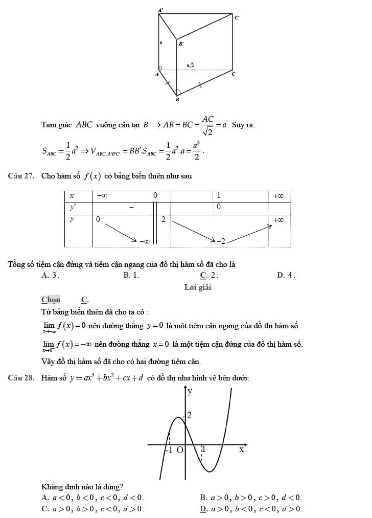 giải đề thi thử môn Toán 2020 phát triển theo đề minh họa số 4 trang 7
