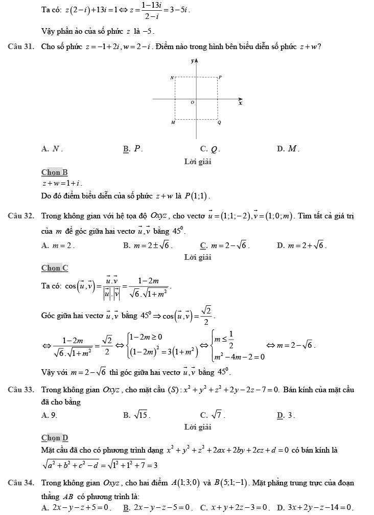 giải chi tiết đề thi thử môn THPT Quốc gia môn Toán 2020 theo đề minh họa trang 9