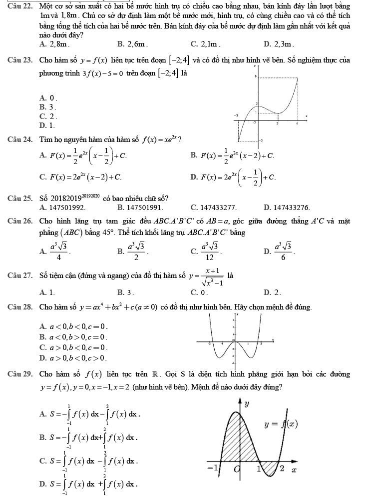 Đề thi thử THPTQG môn Toán 2020 phát triển đề minh họa số 7 trang 2