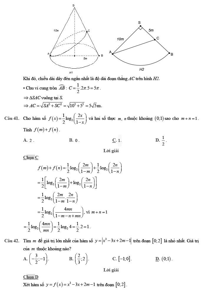 giải đề thi thử môn Toán 2020 phát triển theo đề minh họa số 7 trang 12