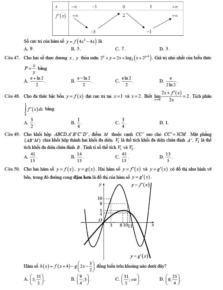 Đề thi thử môn Toán 2020 phát triển theo đề minh họa số 8 trang 5