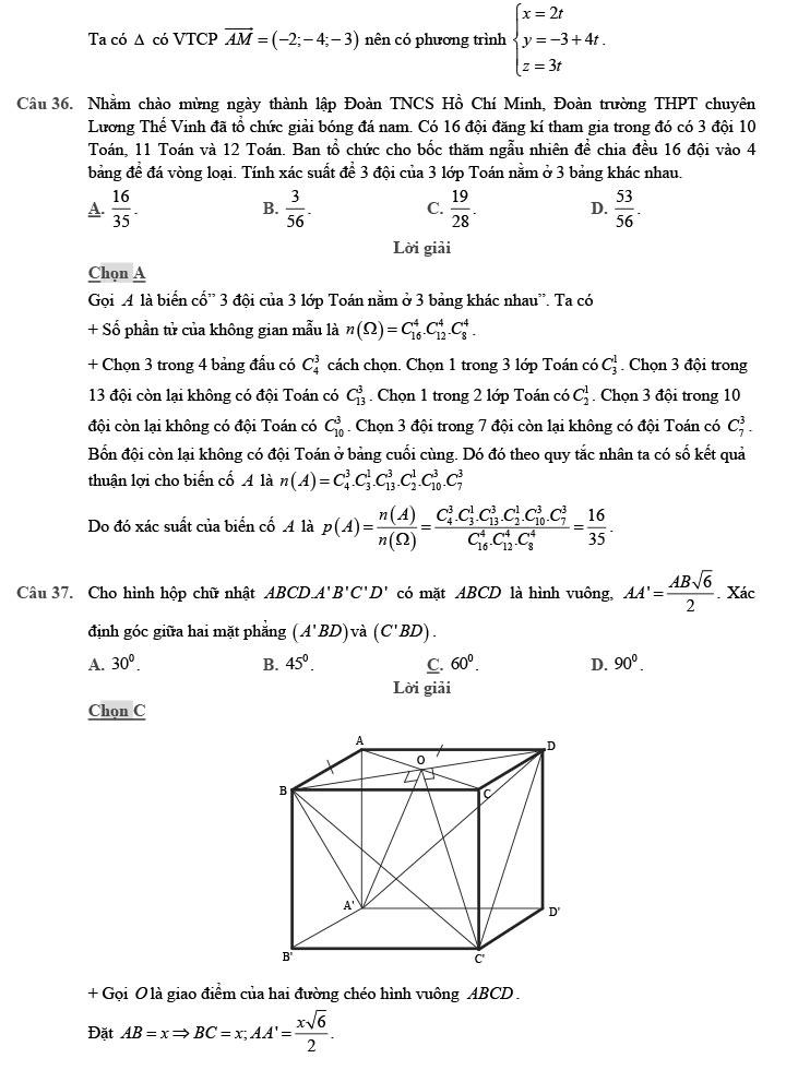 giải đề thi thử môn Toán 2020 phát triển theo đề minh họa số 8 trang 11