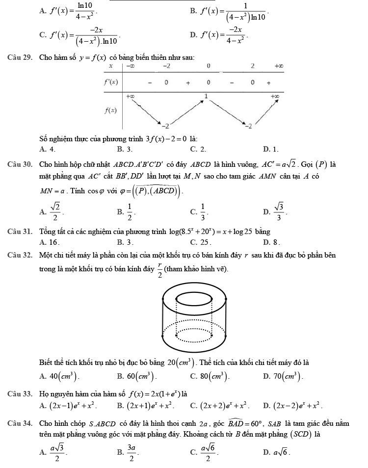 đề thi thử môn Toán 2020 phát triển theo đề minh họa số 9 trang 3
