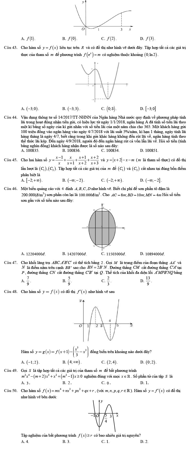 đề thi thử môn Toán 2020 phát triển theo đề minh họa số 9 trang 5