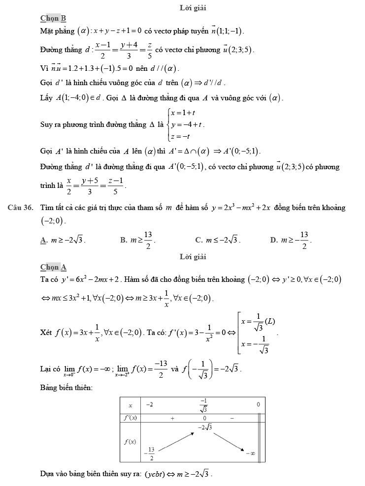 giải đề thi thử THPT Quốc gia môn Toán 2020 theo đề minh họa số 9 trang 10