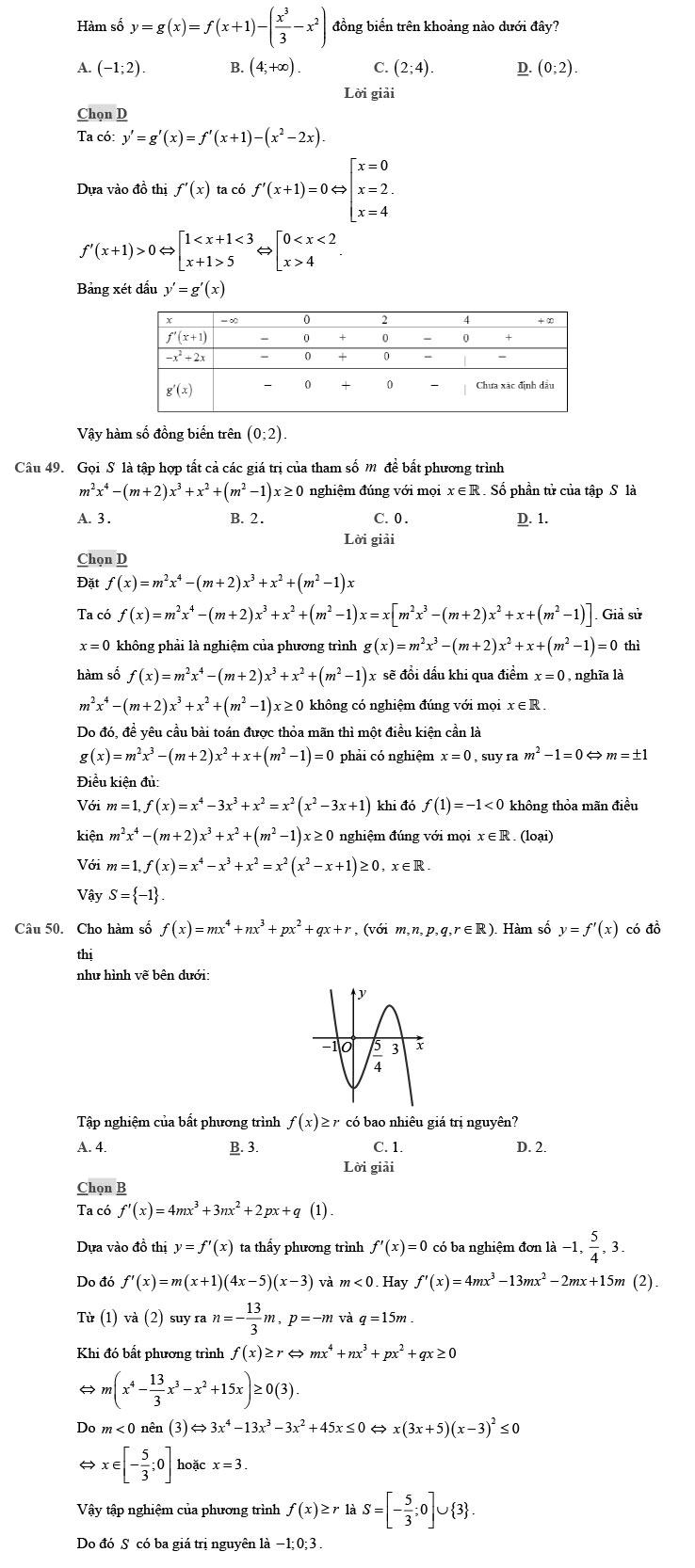 giải đề thi thử THPT Quốc gia môn Toán 2020 theo đề minh họa số 9 trang 17