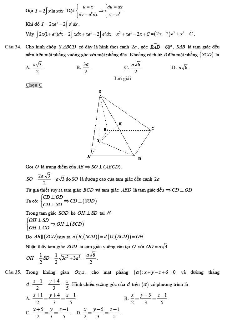 giải đề thi thử THPT Quốc gia môn Toán 2020 theo đề minh họa số 9 trang 9