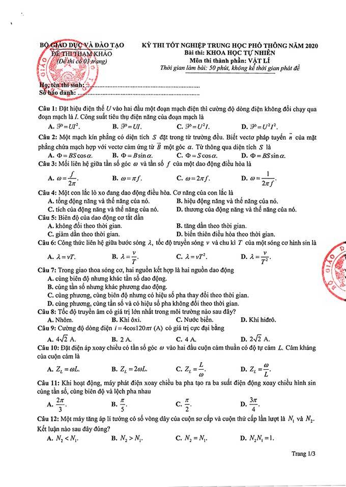 Trang 1 đề thi tham khảo tốt nghiệp THPT năm 2020 môn Vật lí
