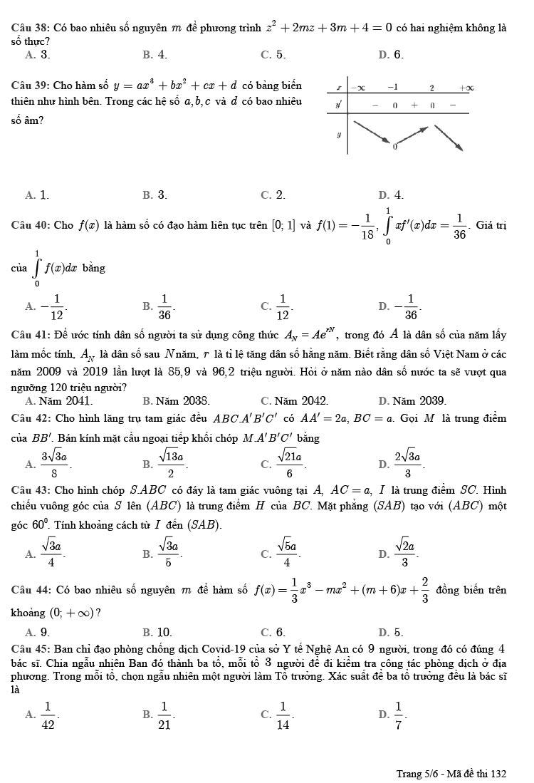 Đề thi thử tốt nghiệp THPT môn Toán 2020 Chuyên Đại học Vinh trang 5