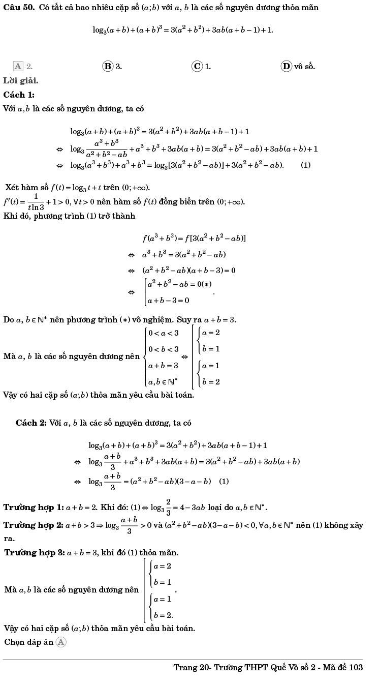 giải đề ôn thi tốt nghiệp THPT năm 2020 môn Toán Quế Võ số 2 trang 20
