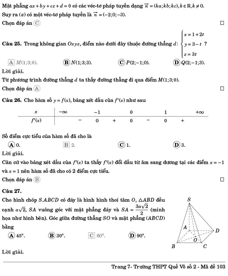 giải đề ôn thi tốt nghiệp THPT năm 2020 môn Toán Quế Võ số 2 trang 7