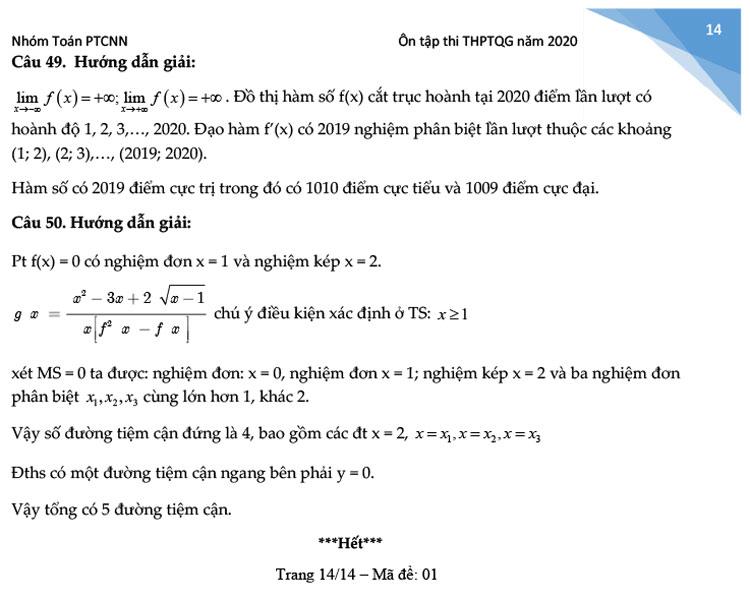 giải đề thi thử THPT Quốc gia 2020 môn Toán Chuyên Ngoại ngữ trang 8