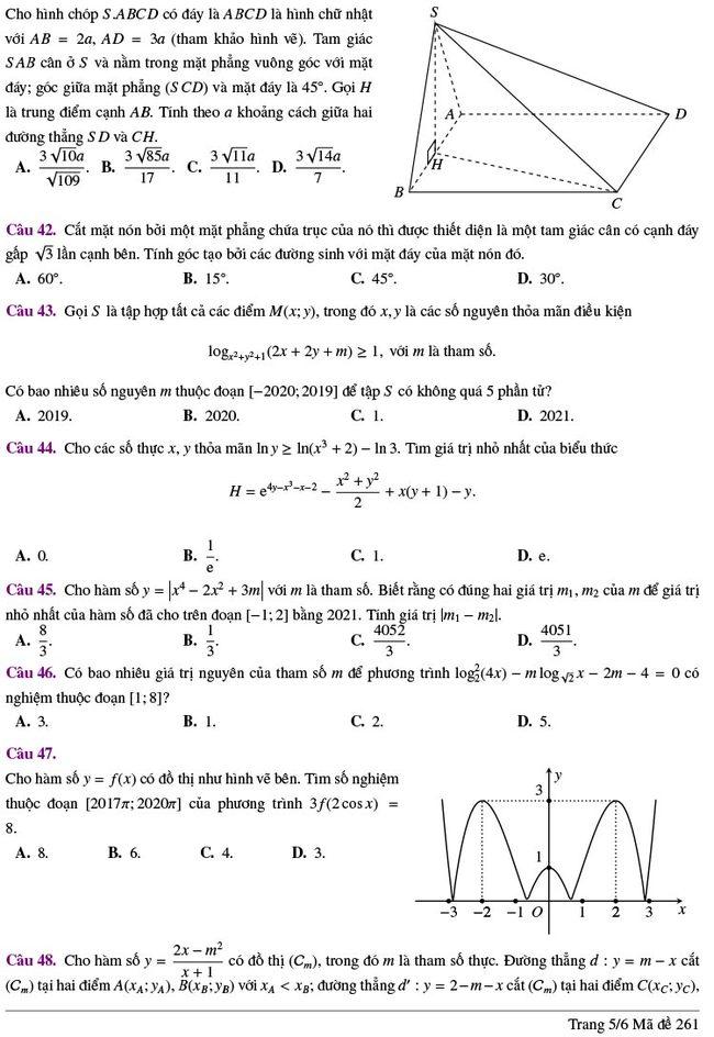 đề thi thử tốt nghiệp THPT môn Toán Lương Thế Vinh lần 2 mã 261 trang 5
