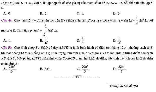 đề thi thử tốt nghiệp THPT môn Toán Lương Thế Vinh lần 2 mã 261 trang 6