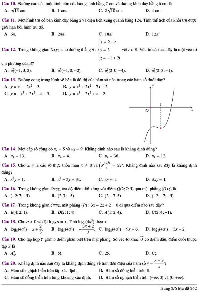 đề thi thử tốt nghiệp THPT môn Toán Lương Thế Vinh lần 2 mã 262 trang 2