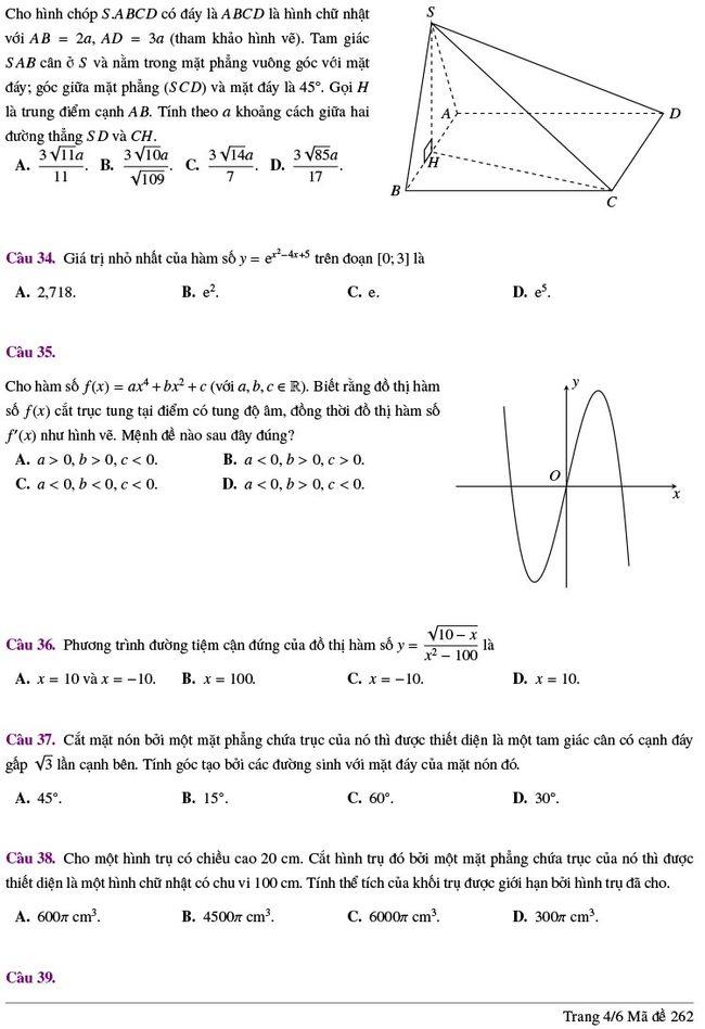 đề thi thử tốt nghiệp THPT môn Toán Lương Thế Vinh lần 2 mã 262 trang 4