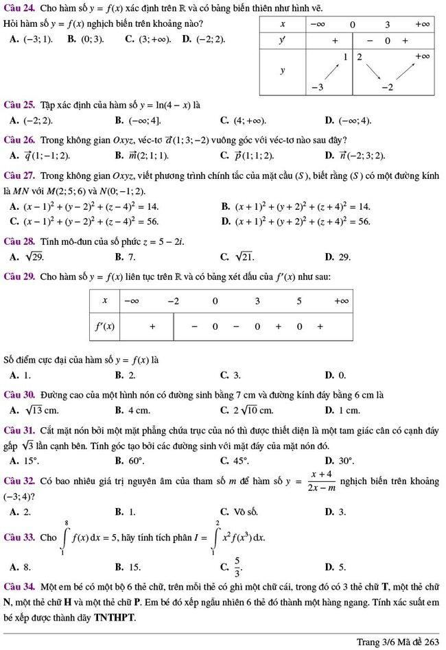 đề thi thử tốt nghiệp THPT môn Toán Lương Thế Vinh lần 2 mã 263 trang 3