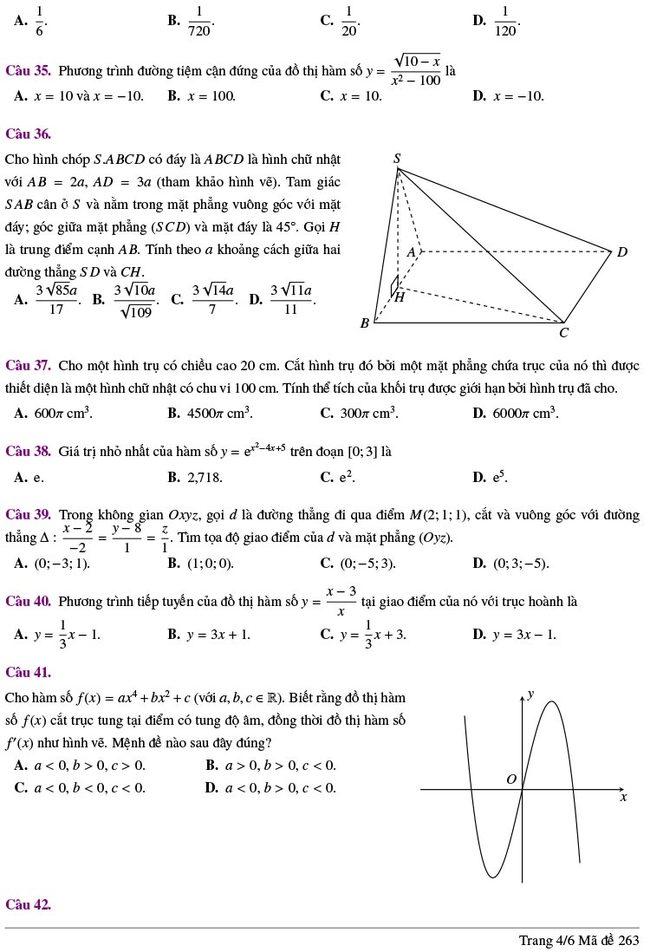 đề thi thử tốt nghiệp THPT môn Toán Lương Thế Vinh lần 2 mã 263 trang 4