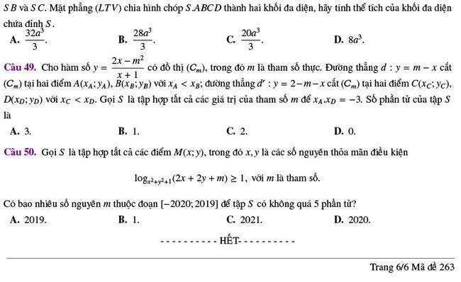 đề thi thử tốt nghiệp THPT môn Toán Lương Thế Vinh lần 2 mã 263 trang 6