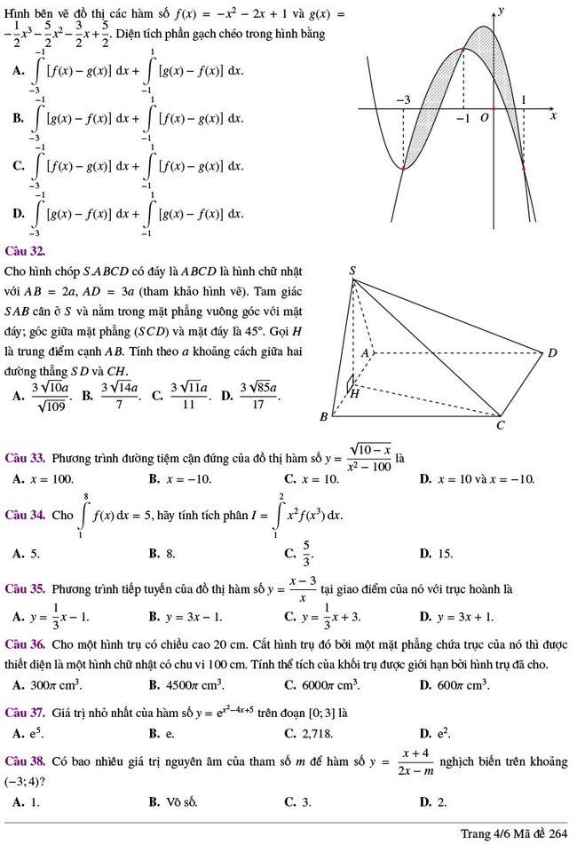 đề thi thử tốt nghiệp THPT môn Toán Lương Thế Vinh lần 2 mã 264 trang 4
