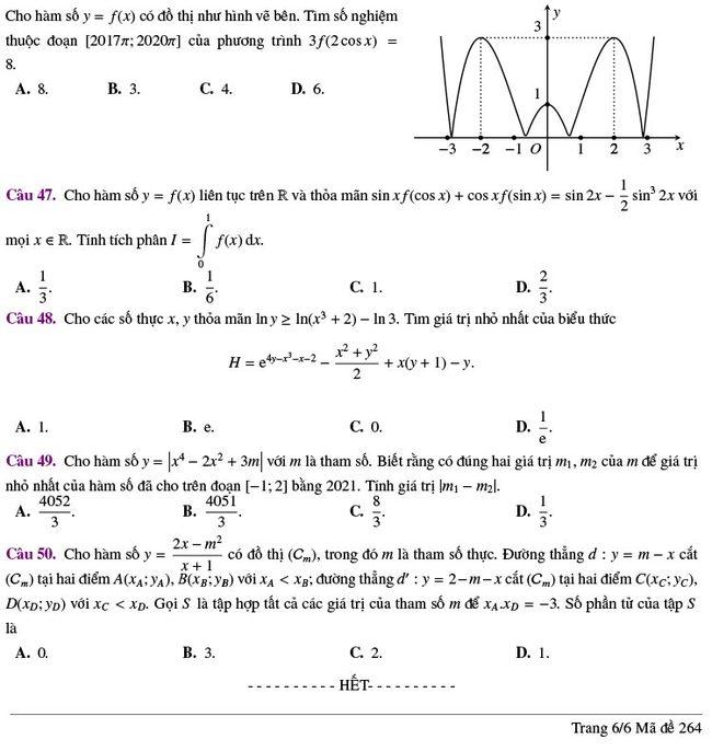 đề thi thử tốt nghiệp THPT môn Toán Lương Thế Vinh lần 2 mã 264 trang 6