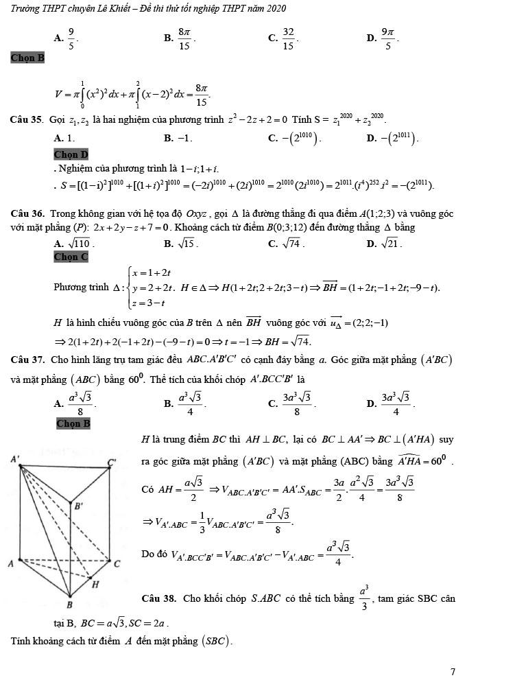 giải đề thi thử tốt nghiệp THPT môn Toán 2020 THPT Chuyên Lê Khiết trang 2
