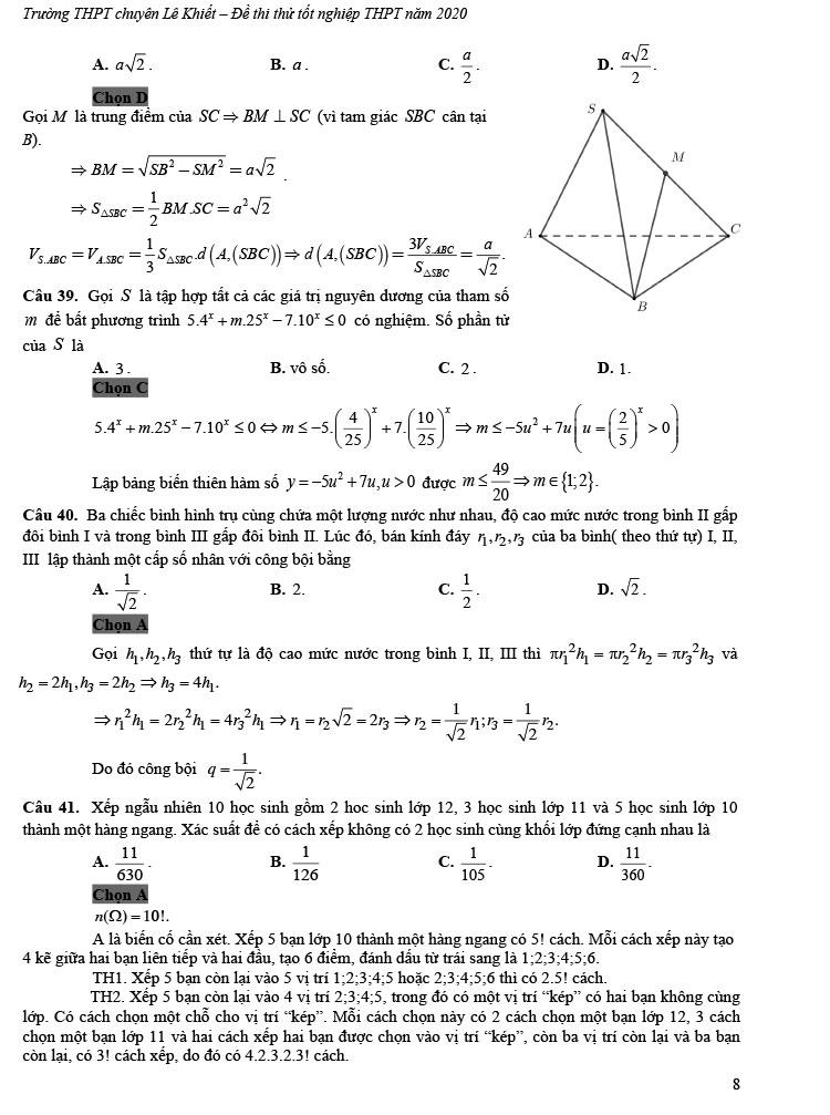 giải đề thi thử tốt nghiệp THPT môn Toán 2020 THPT Chuyên Lê Khiết trang 3