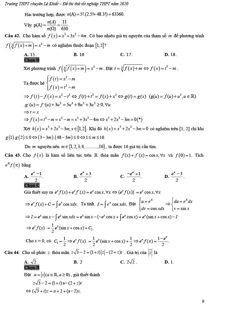 giải đề thi thử tốt nghiệp THPT môn Toán 2020 THPT Chuyên Lê Khiết trang 4