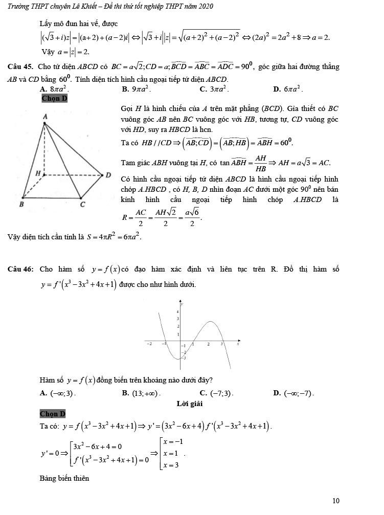 giải đề thi thử tốt nghiệp THPT môn Toán 2020 THPT Chuyên Lê Khiết trang 5