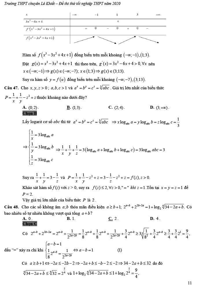 giải đề thi thử tốt nghiệp THPT môn Toán 2020 THPT Chuyên Lê Khiết trang 6