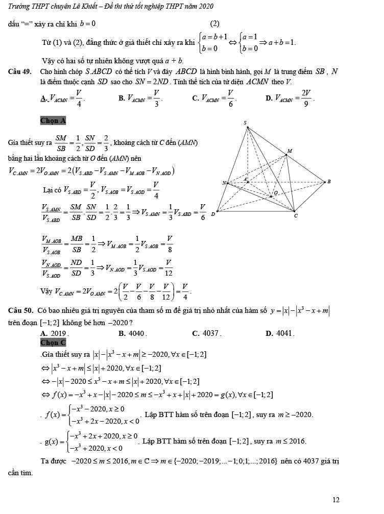 giải đề thi thử tốt nghiệp THPT môn Toán 2020 THPT Chuyên Lê Khiết trang 7