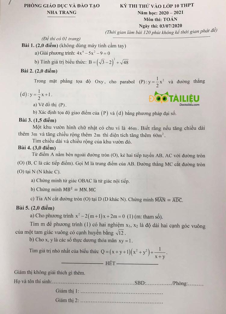 Đề thi thử vào lớp 10 môn Toán năm 2020 của Phòng GD&ĐT Nha Trang