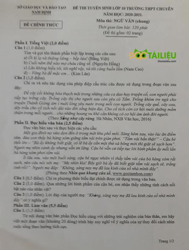 Đề thi Văn vào lớp 10  năm 2020 Chuyên Lê Hồng Phong trang 1