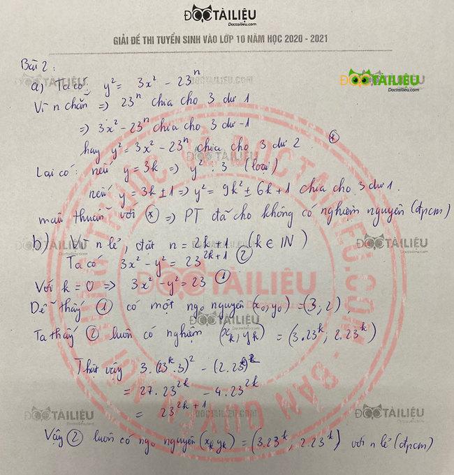 Đáp án câu 2 đề thi vào lớp 10 môn Toán chuyên năm 2020 PTNK