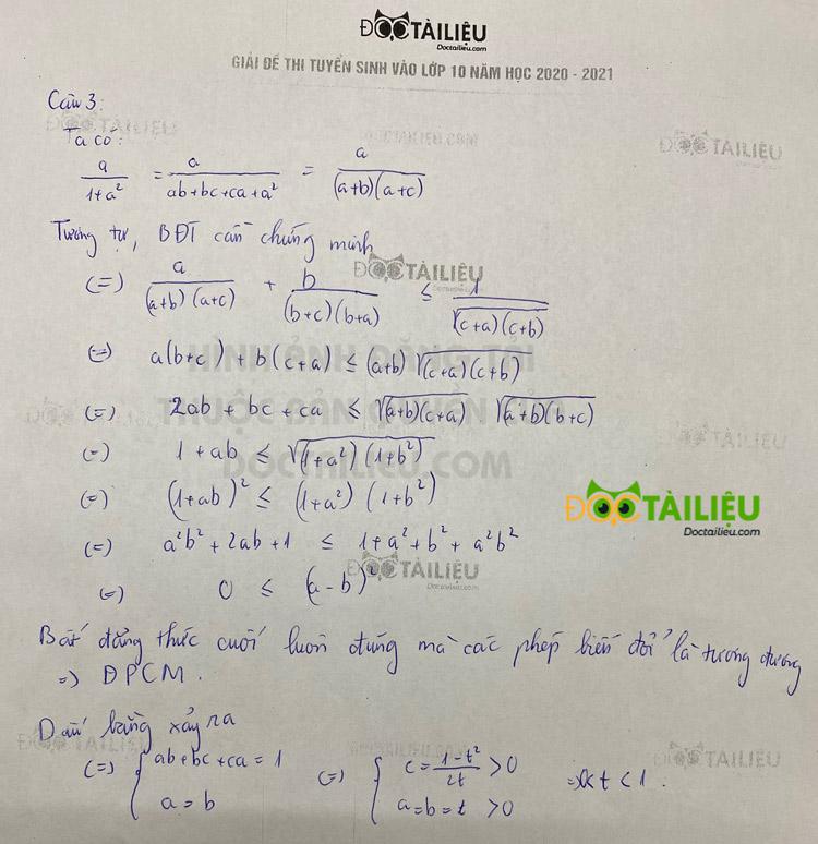 Đáp án câu 3 đề thi Toán vào lớp 10 Chuyên KHXH&NV 2020