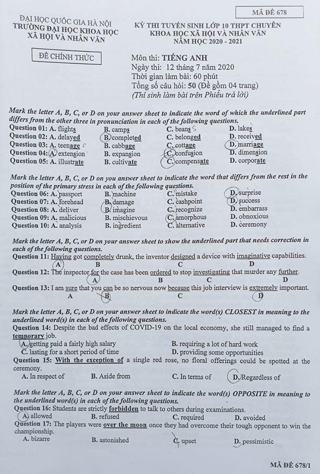 Đề thi tuyển sinh vào lớp 10 môn Anh năm 2020 Chuyên KHXH&NV ảnh 1