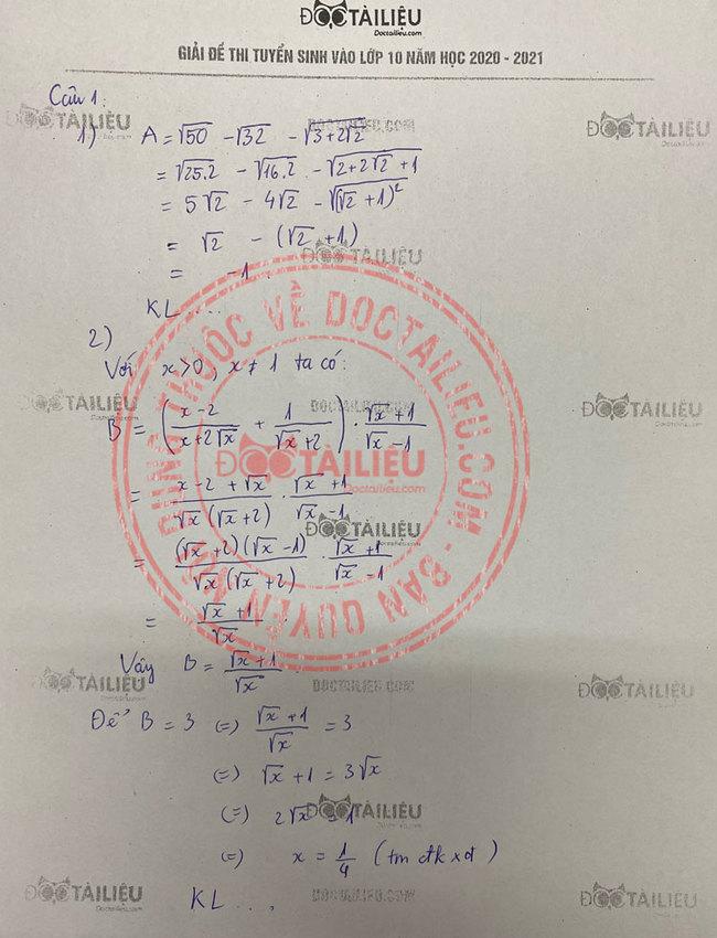 Đáp án câu 1 đề thi tuyển sinh vào lớp 10 môn Toán năm 2020 Hà Nam
