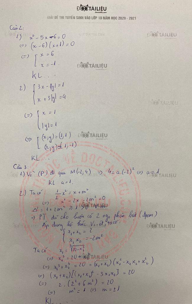 Đáp án câu 2 đề thi tuyển sinh vào lớp 10 môn Toán năm 2020 Hà Nam