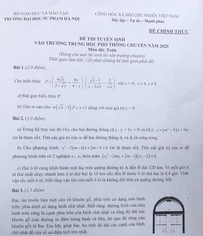 Đề thi Toán chuyên Sư Phạm 2020 (có đáp án chi tiết) trang 1
