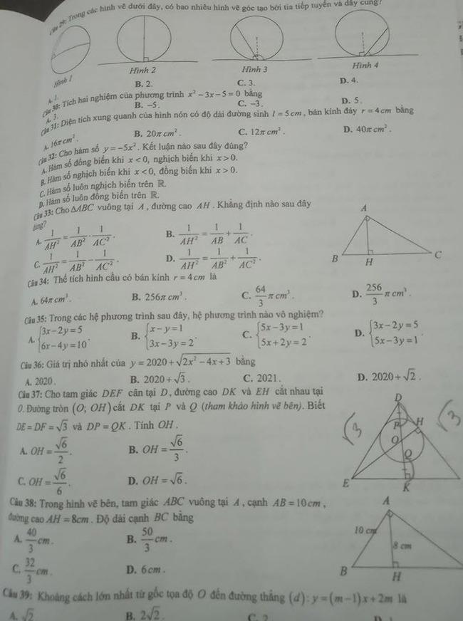 đề thi tuyển sinh lớp 10 môn Toán năm 2020 Hưng Yên trang 3