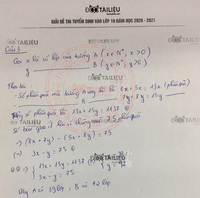 Đáp án câu 3 đề thi tuyển sinh vào lớp 10 môn Toán năm 2020 Khánh Hòa