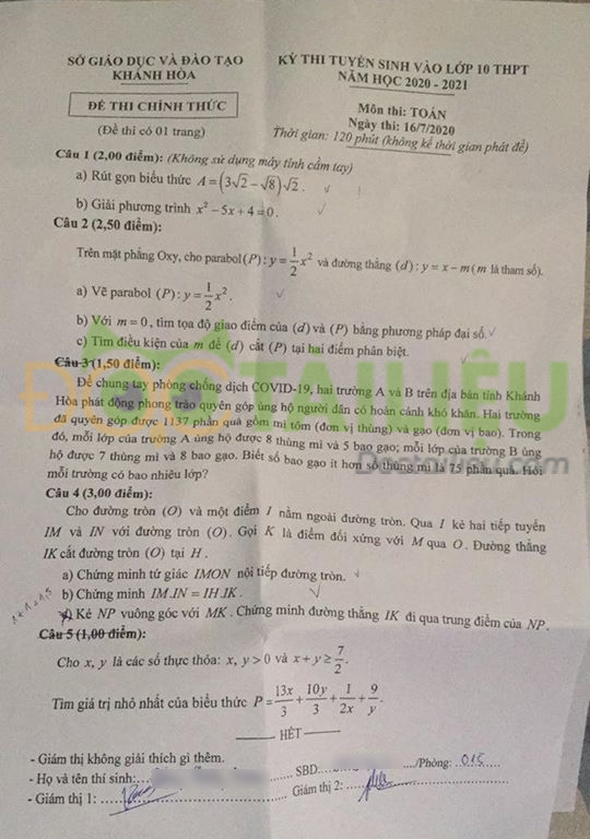 Đề thi tuyển sinh vào lớp 10 môn Toán năm 2020 Khánh Hòa